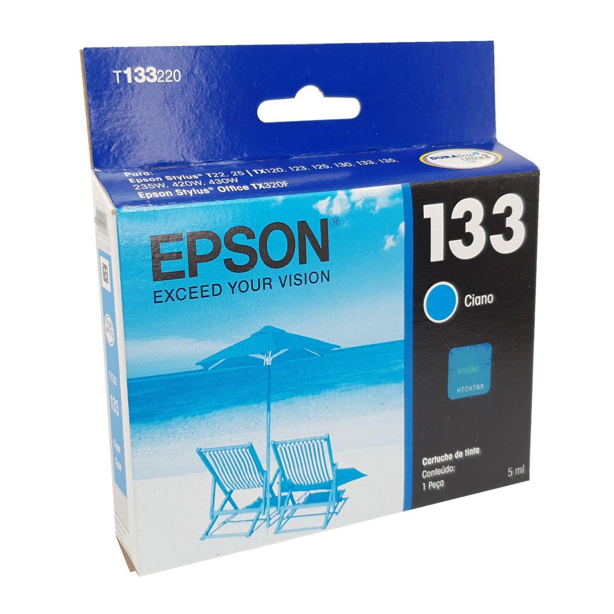 Cartucho T1332 133 ciano original Epson para TX120 TX123 TX125 TX133 TX135