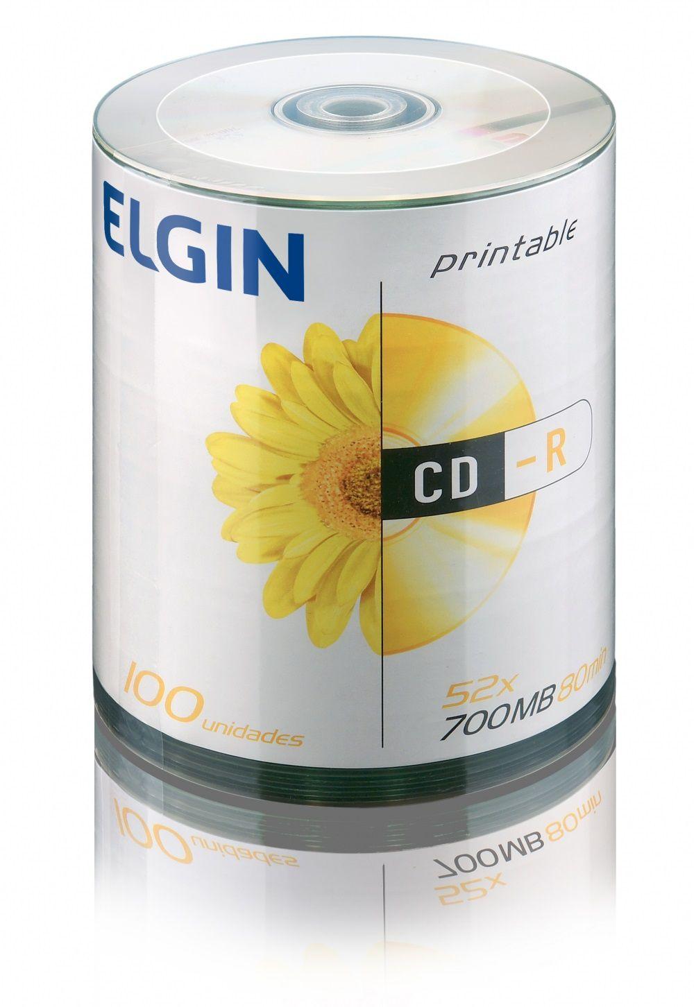 CD-R 100 Mídias Printable Imprimivel até o Miolo Elgin