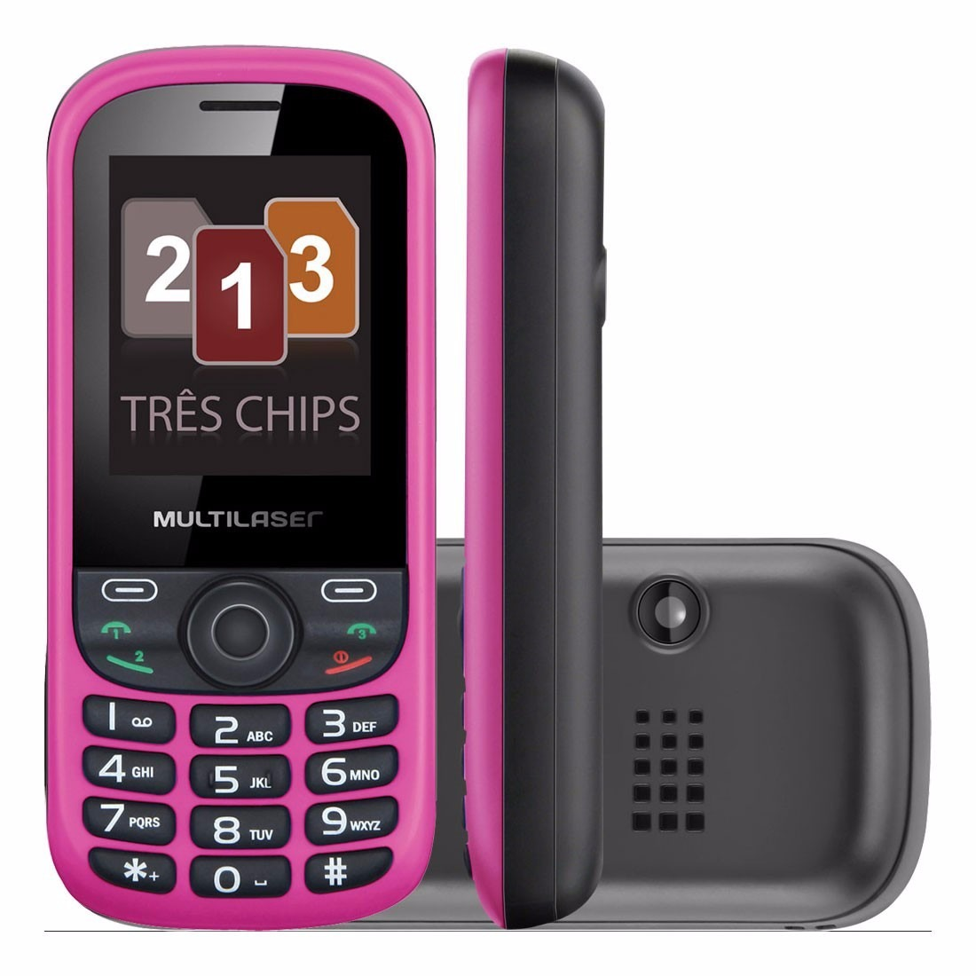 Celular UP Tri Chip Rosa/Preto Câmera Rádio MP3 Player Multilaser P3275