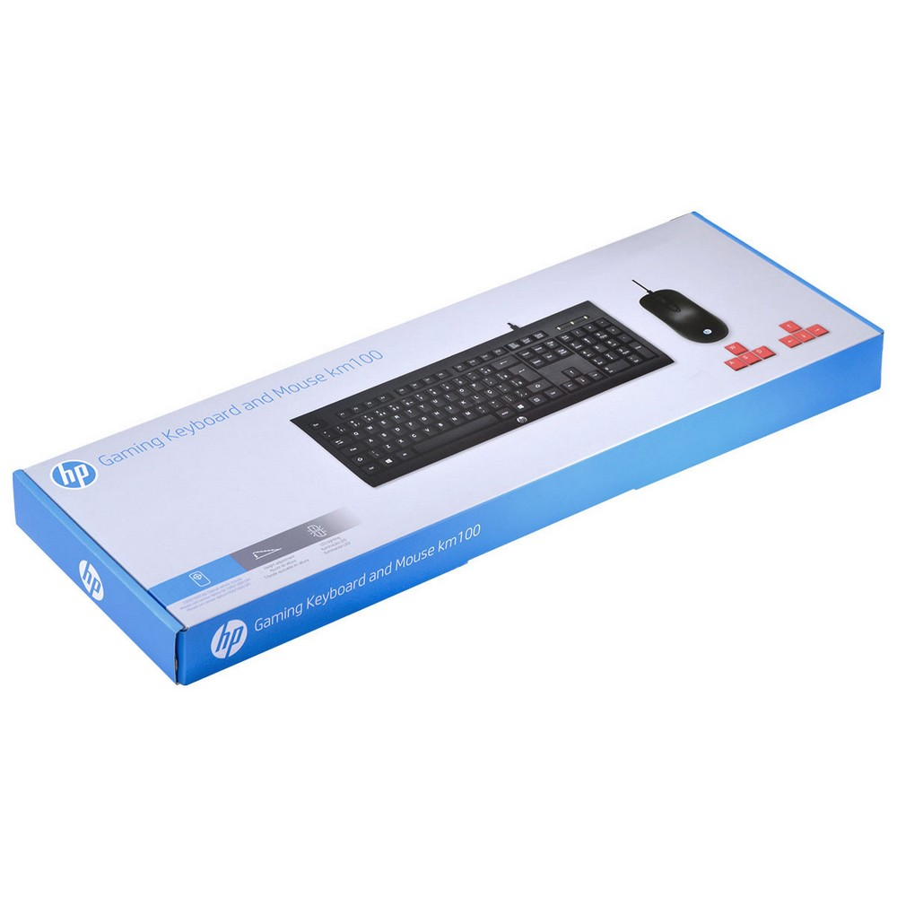 Combo Teclado e Mouse USB Gaming Keyboard KM100 HP