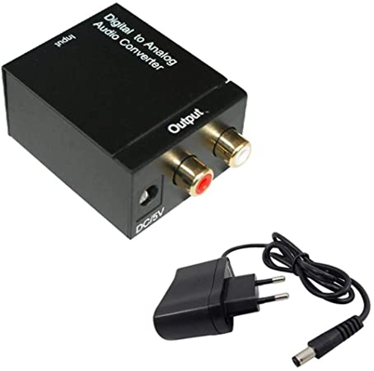 Conversor Áudio Digital Óptico Para Analógico RCA Com Fonte