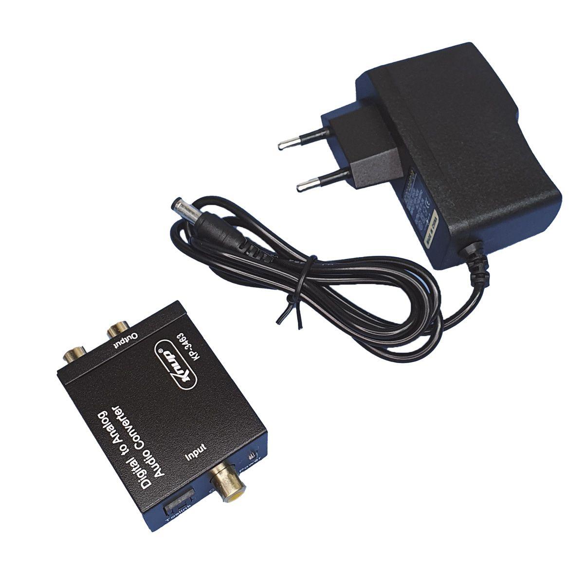Conversor Audio Digital Para Analogico Rca E Cabo Optico