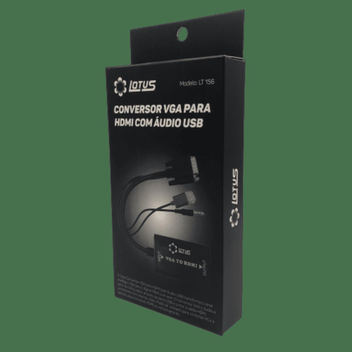 Conversor VGA para HDMI com Áudio USB LT-156 Lotus