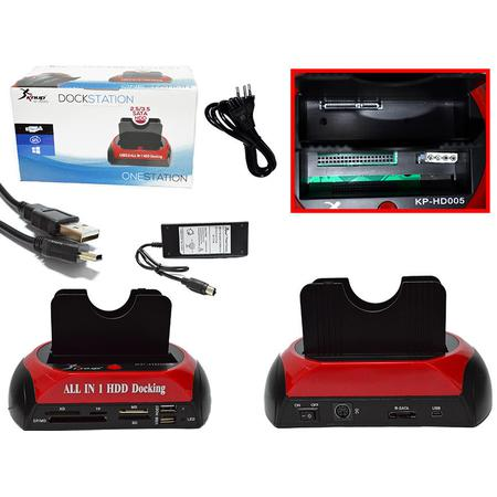 Docking Station para HD 2.5 e 3.5 IDE SATA e cartões HDD KP-HD005