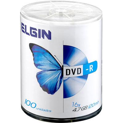 DVD-R com Logo 100 midias Elgin 4.7gb 16X