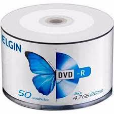 DVD-R com logo 50 midias Elgin 4.7Gb 16X