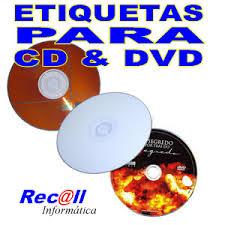 200 Etiquetas para CD e DVD Adesivas para impressoras Jato de Tinta e Laser