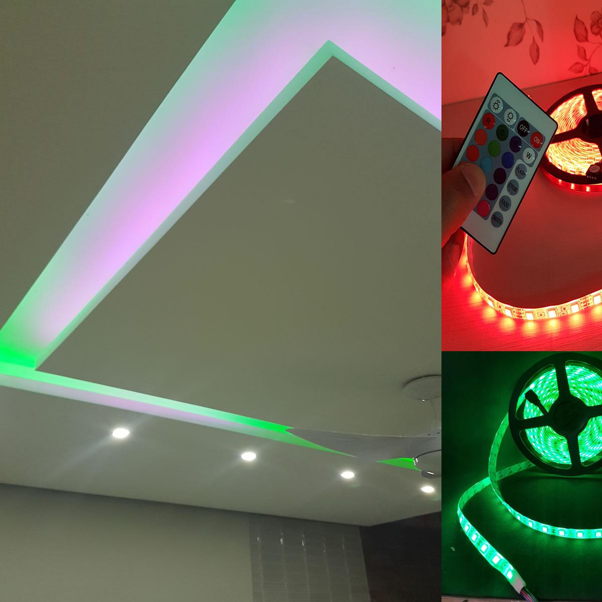 Fita LED RGB 5050 com 5 Metros 5m e Controle Remoto com Fonte para Decoração