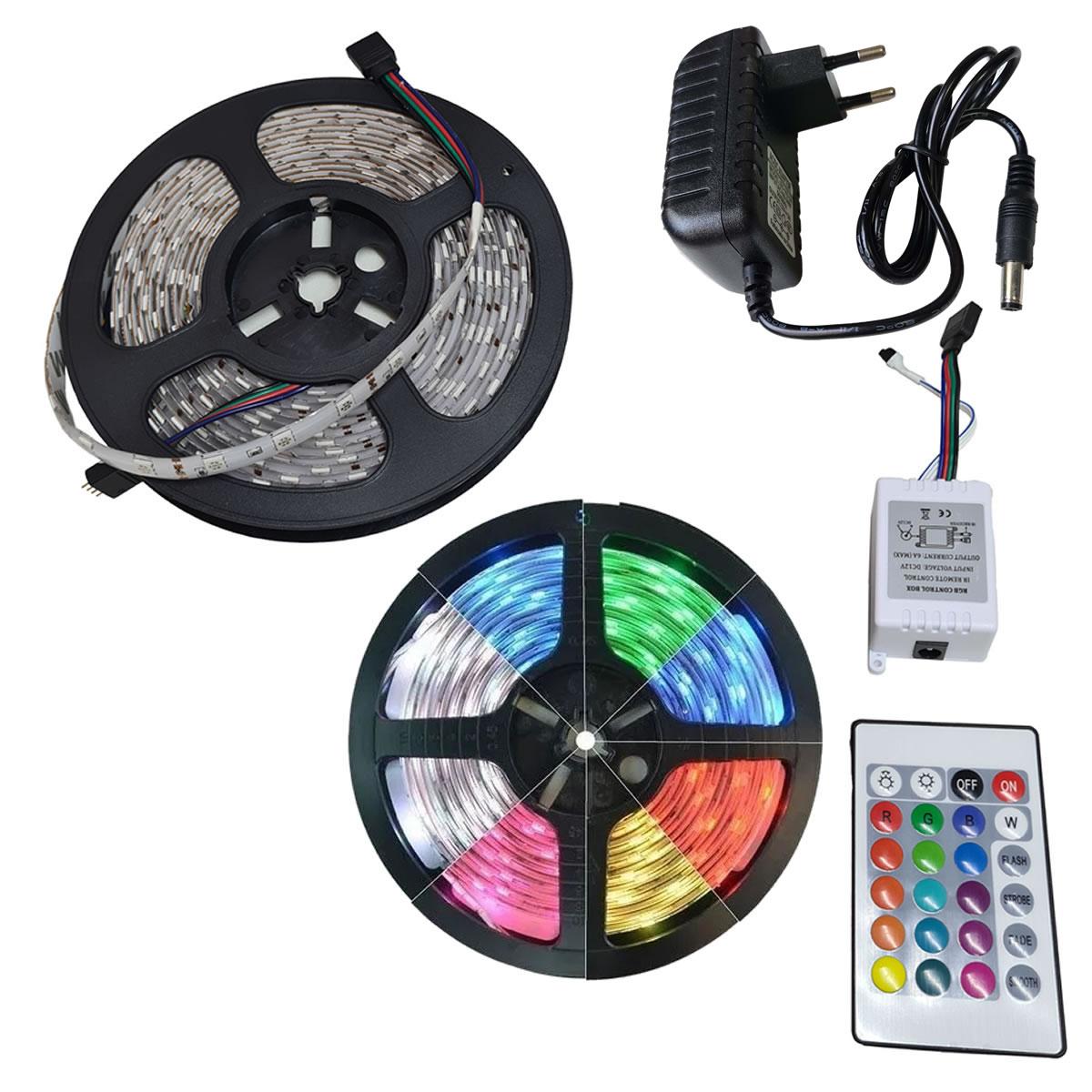 Fita LED RGB com 10 Metros Fonte 3A e Controle Remoto Proteção IP64 5050 Fonte 3A