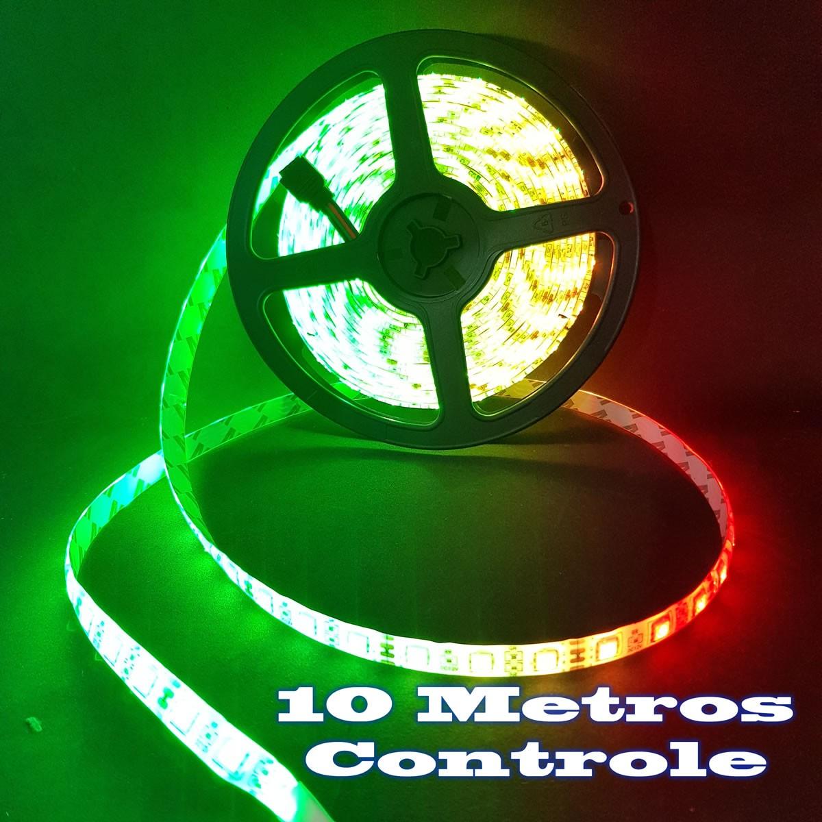 eanxFita LED RGB com 10 Metros Fonte 3A e Controle Remoto Proteção IP64 5050 Fonte 3A