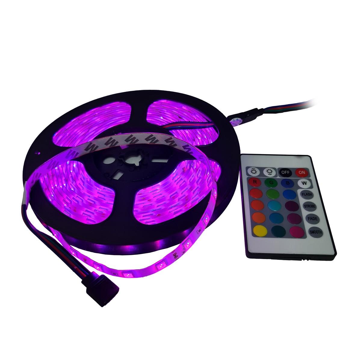 eanxFita LED RGB com 5 Metros e Controle Remoto Proteção IP64 5050
