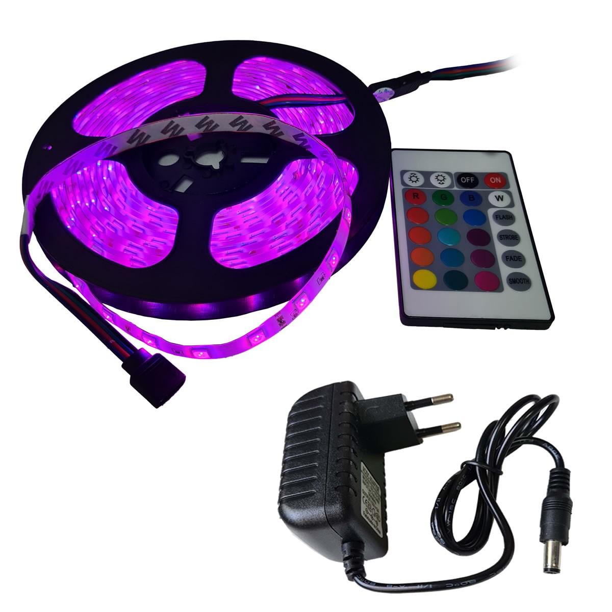 Fita LED RGB com 5 Metros Fonte 3A e Controle Remoto Proteção IP64 5050 Fonte 3A