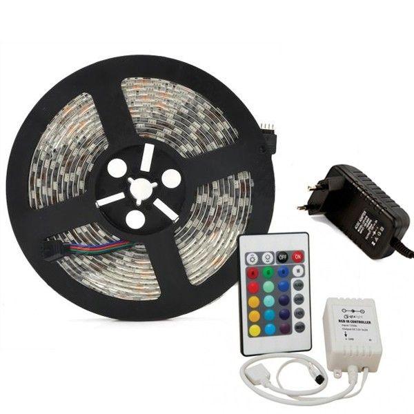 eanx Fita LED RGB 5050 5 metros 5M controladora com fonte e controle remoto