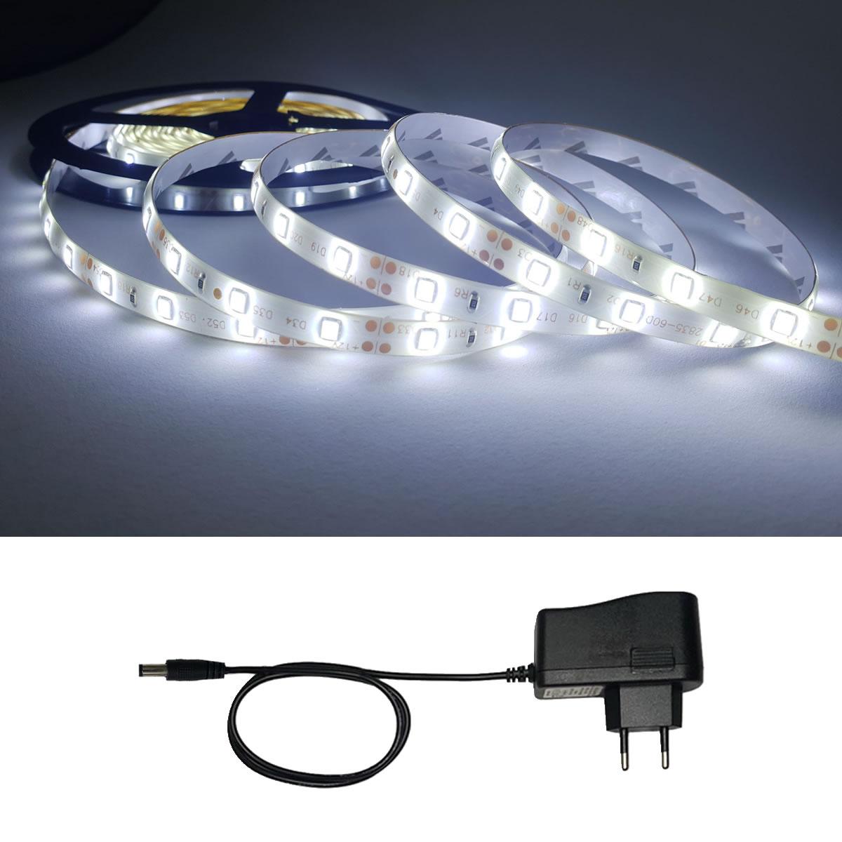 Fita Super LED 2835 Branco Frio 60 Leds Metro Com Fonte 4.5m