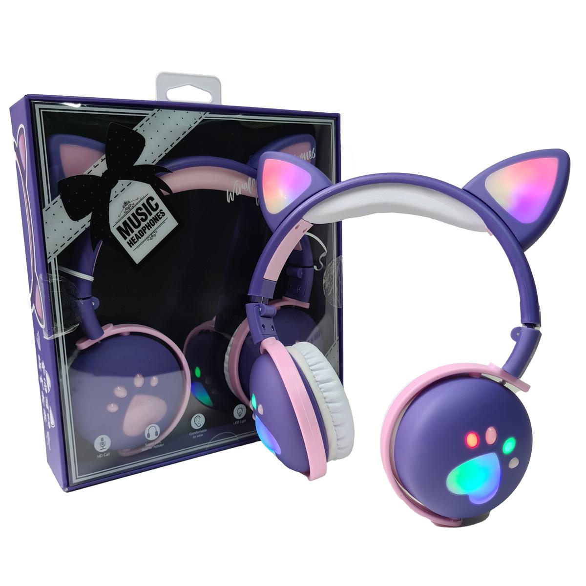 Fone De Ouvido Bluetooth Led Orelha Gato Infantil Headphone Roxo