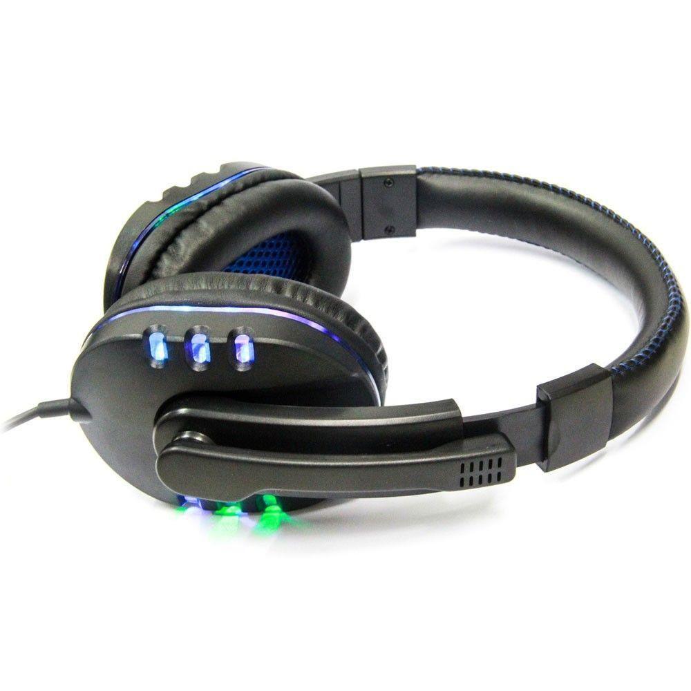 Fone de Ouvido Gamer Headset para PC/PS4/PS3/Notebook Preto e Azul Knup KP-359