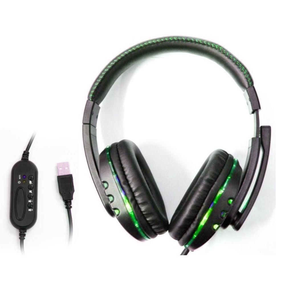 Fone de Ouvido Gamer Headset para PC/PS4/PS3/Notebook Preto e Verde Knup KP-359