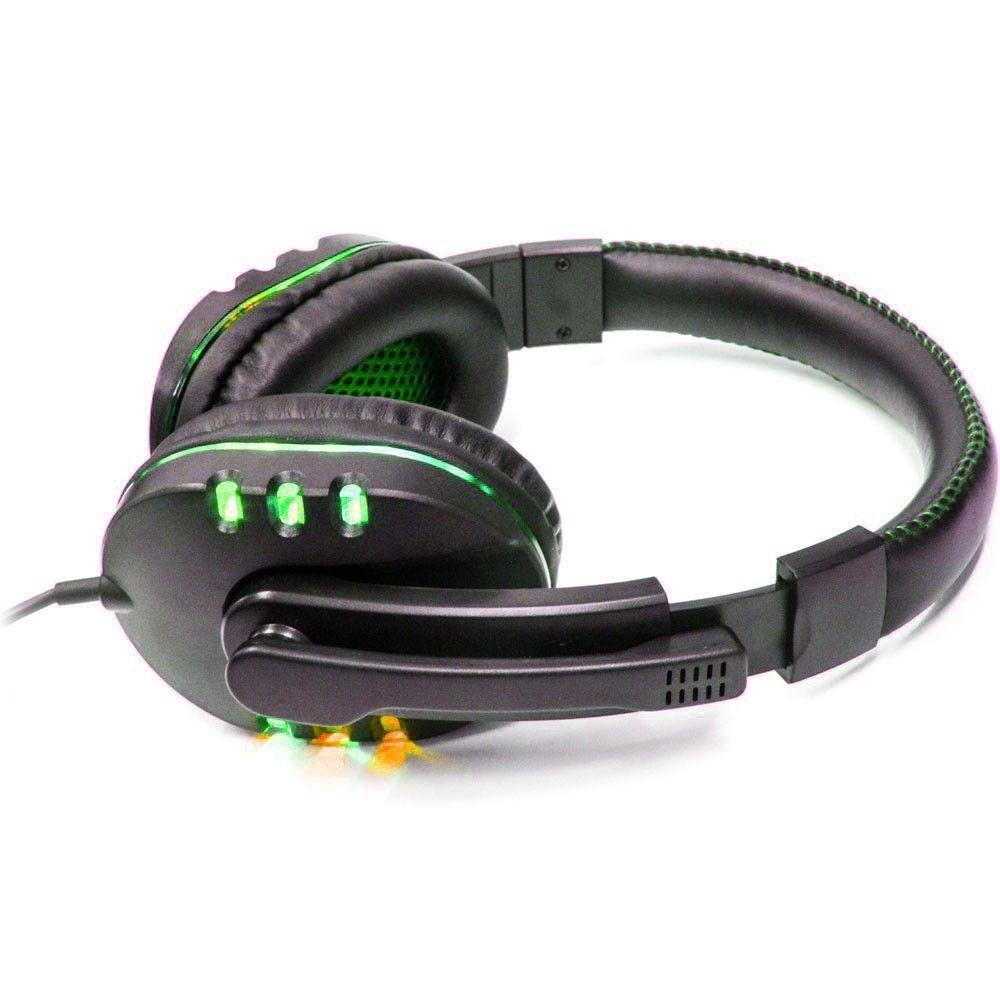Fone de Ouvido Gamer Headset para PC/PS4/PS3/Notebook Preto e Verde Knup KP-359