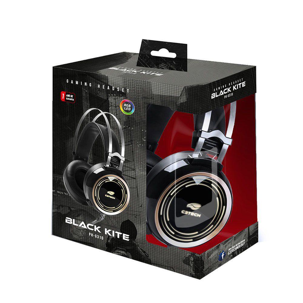 Fone de ouvido Headset Gamer C3 Tech P2 e USB RGB Black Kite PH-G310BK