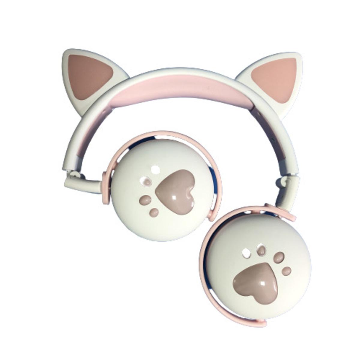 Fone De Ouvido Bluetooth Led Orelha Gato Infantil Headphone Branco