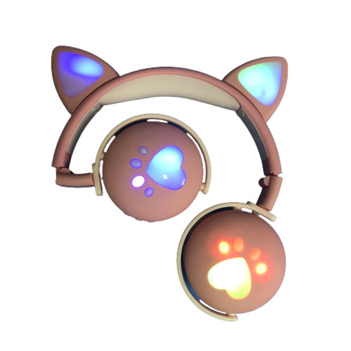 Fone De Ouvido Bluetooth Led Orelha Gato Infantil Headphone Rosa