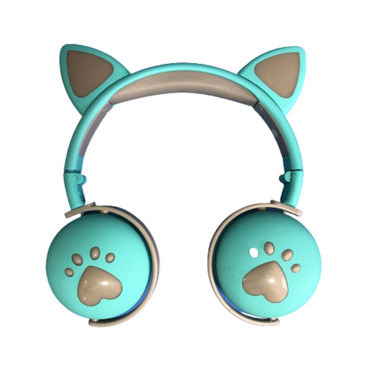 Fone De Ouvido Bluetooth LED Orelha Gato Infantil Headphone Verde