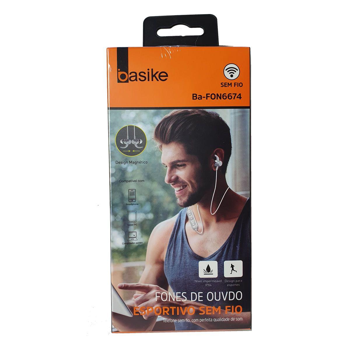 Fone de Ouvido Sem Fio Bluetooth esportivo Branco BA-FON6674 Basike