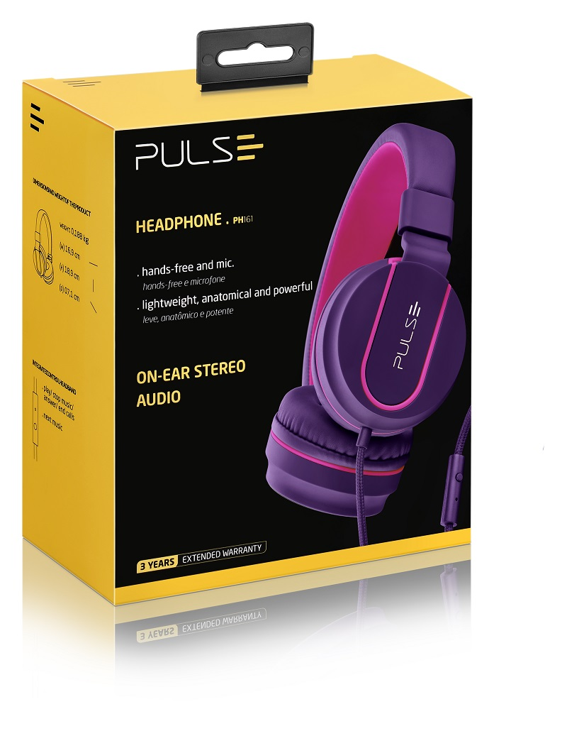Fone Headphone Pulse Preto com Lilás Roxo PH161 Multilaser