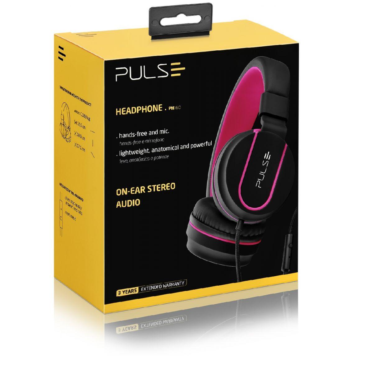 Fone Headphone Pulse Preto com Rosa PH160 Multilaser