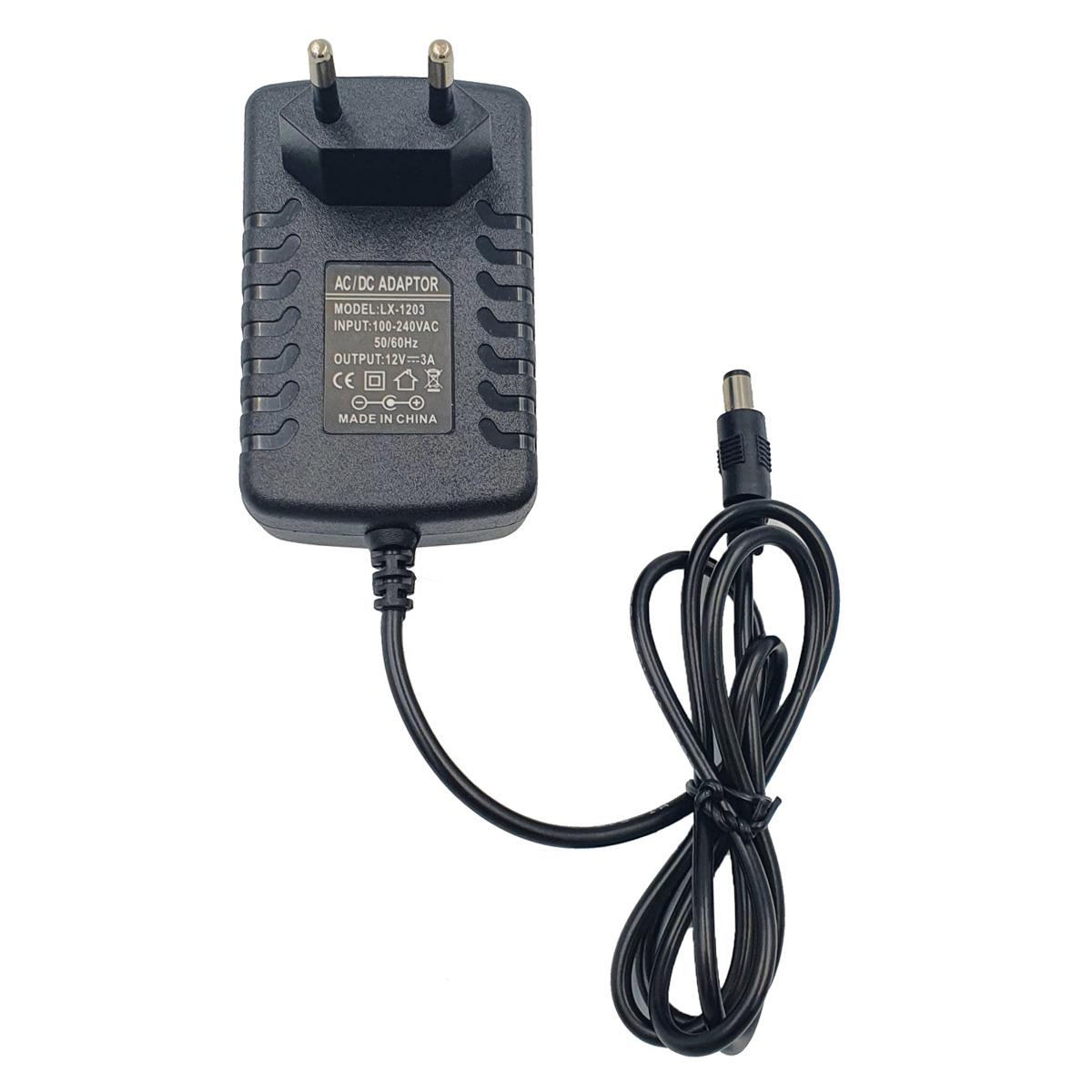 Fonte 12V 3A Bivolt 110/220v Preto para Fita LED cameras de segurança CFTV