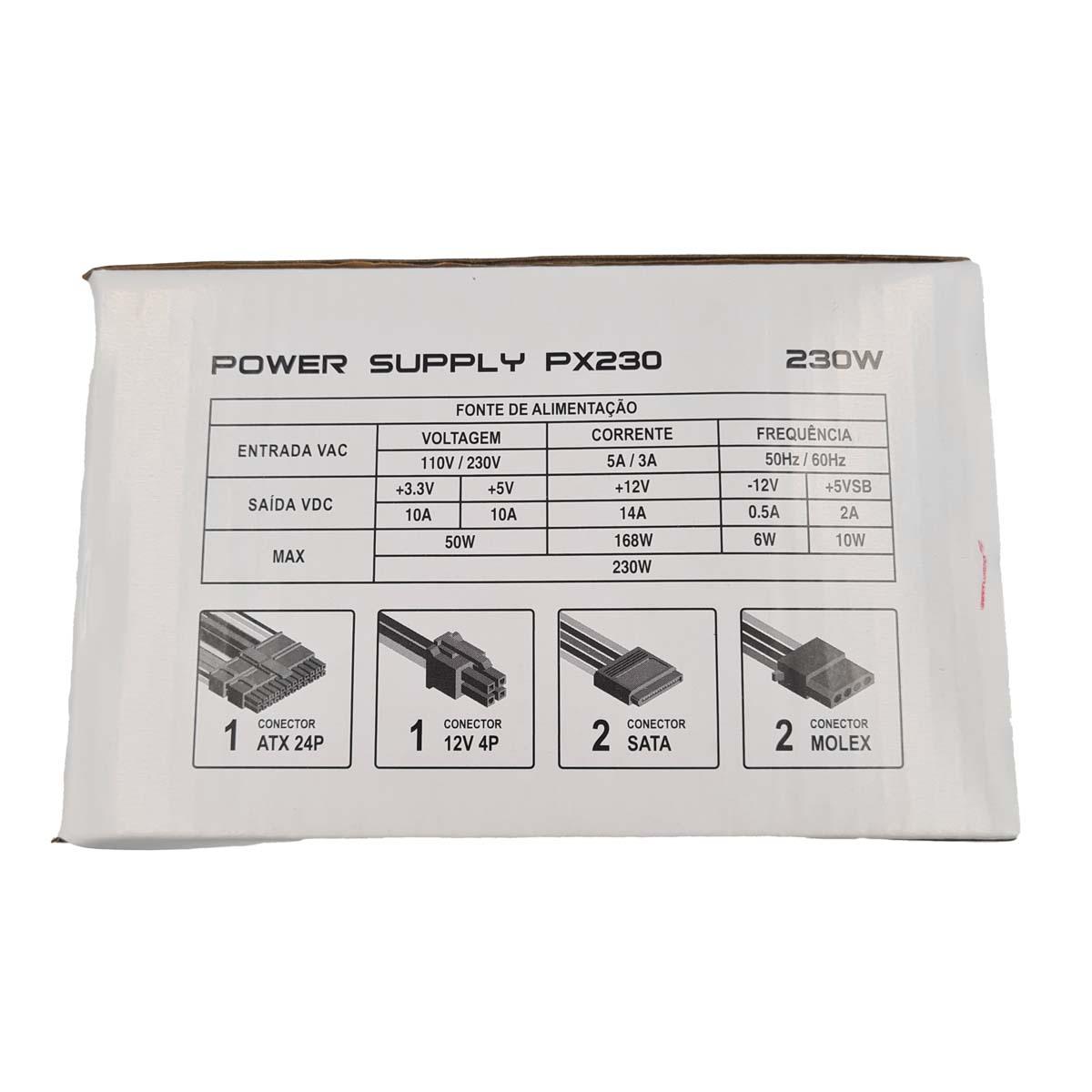Fonte ATX 230W 20+4 Pinos PowerX PX230 Com Cabo de Força