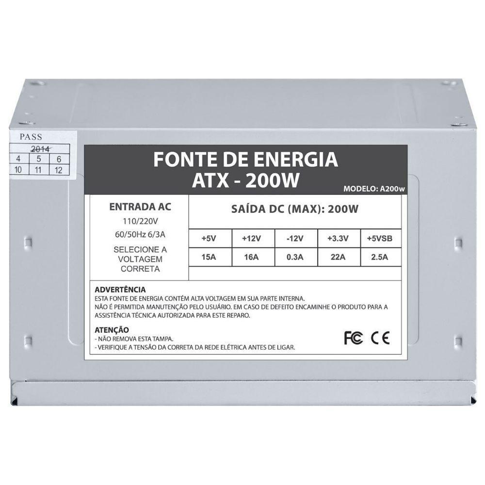 Fonte de Energia e Alimentação ATX 200W Sem Cabo A200W OEM