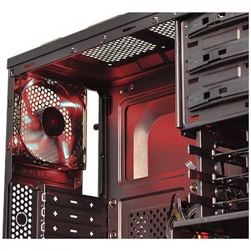 Gabinete Mid-Tower Gamer 3 Baias 2 FAN 120mm Preto com Vermelho s/ Fonte PCYes Rhino