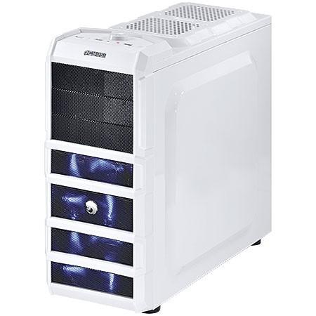 Gabinete Mid-Tower Gamer 3 Baias Branco com LED Azul PCYes Rhino White