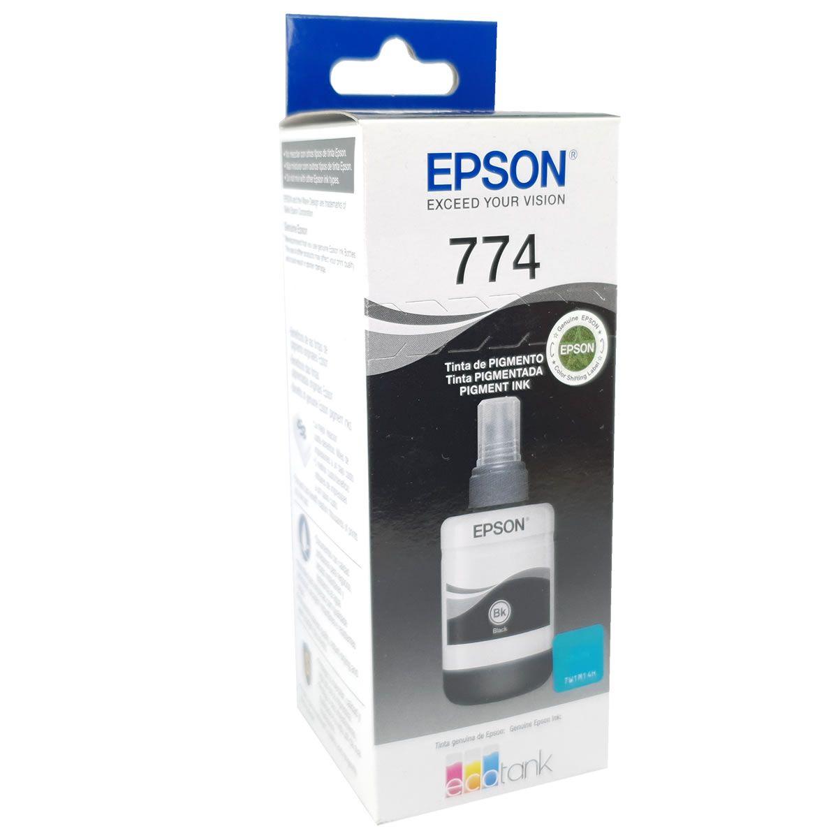 Refil de Tinta EPSON T774120 T7741 Preto 140ml para M100 M105 M200 M205