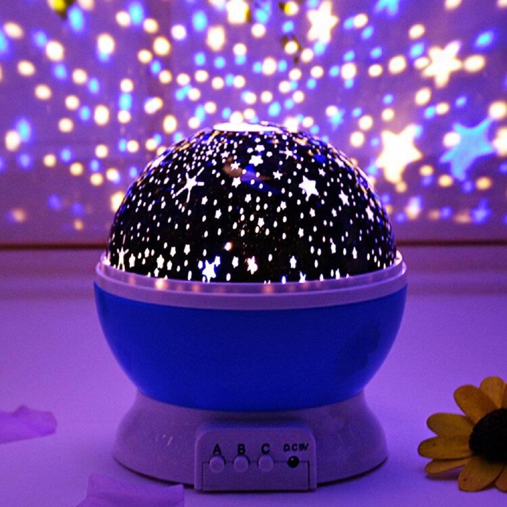 Globo Abajur Luminária infantil giratória Estrelas