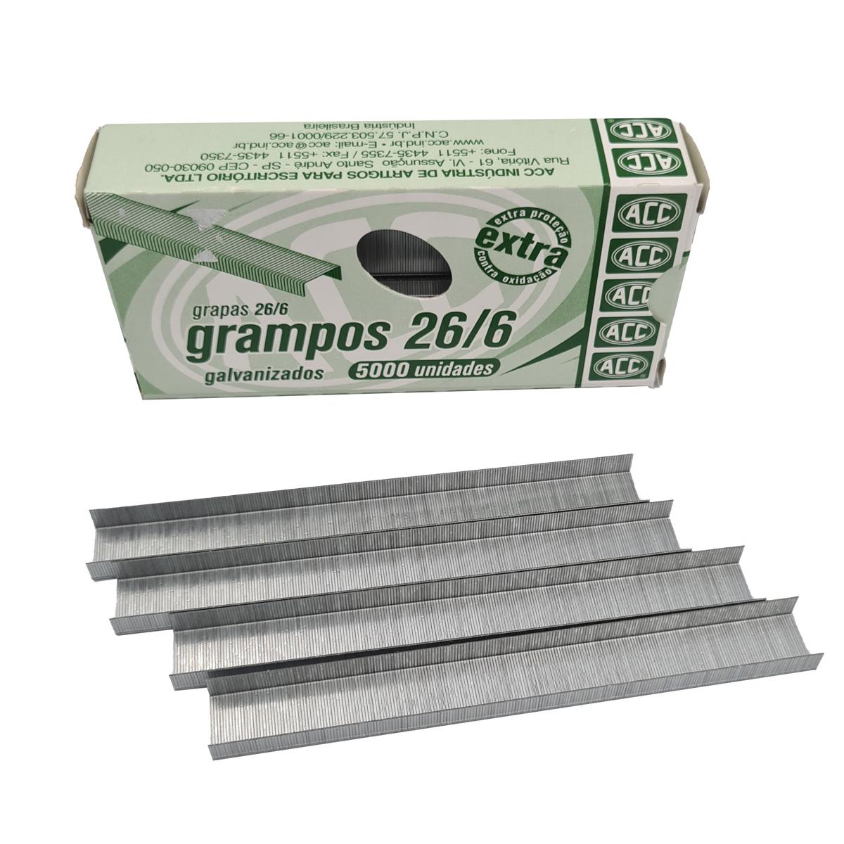 Grampo  de aço galvanizado 26/6 Caixa com 5000 ACC