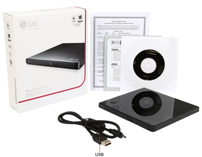 Gravador DVD Externo USB 8x Preto LG GP65NB60