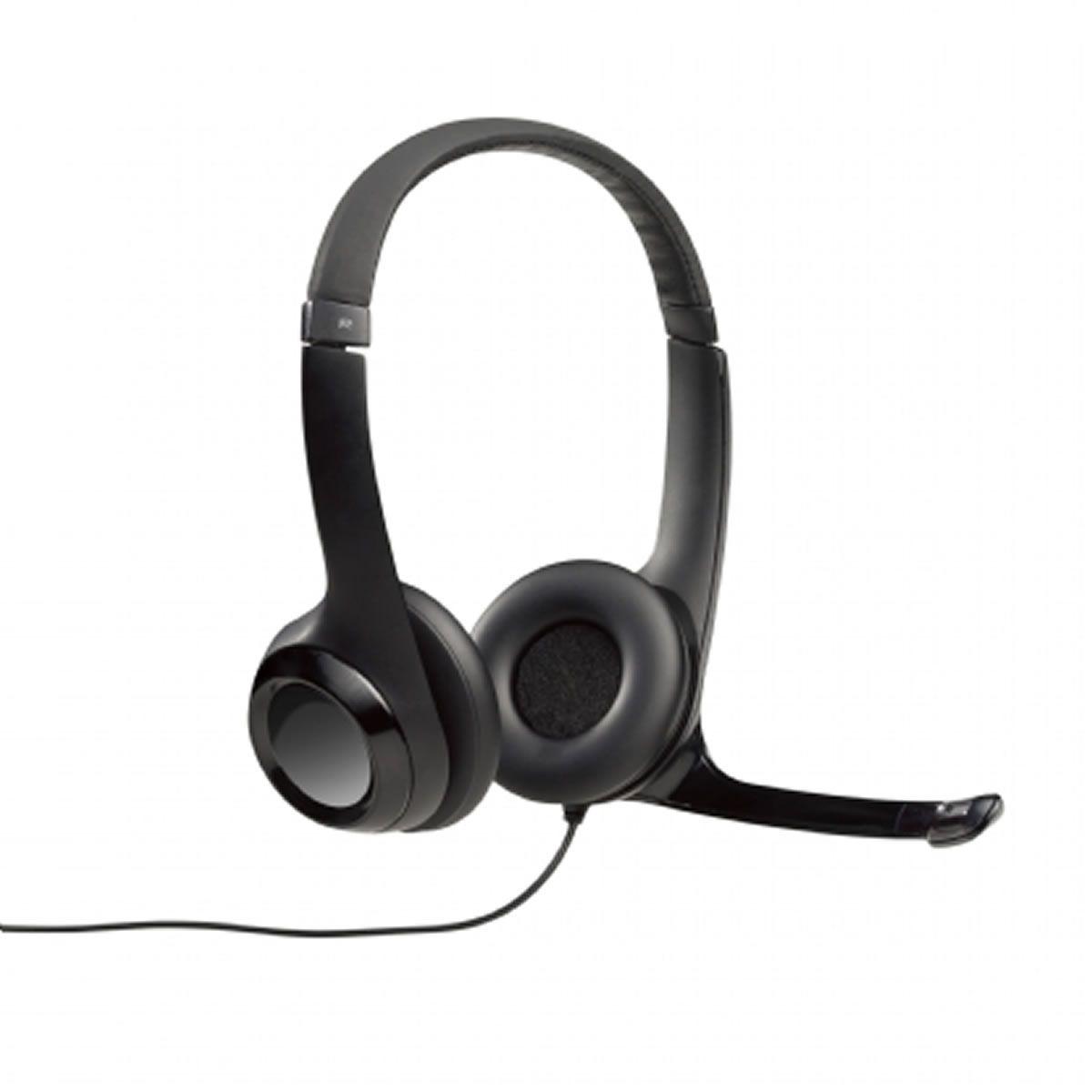 Headset Logitech H390 Áudio Digital em Couro Fone USB Preto