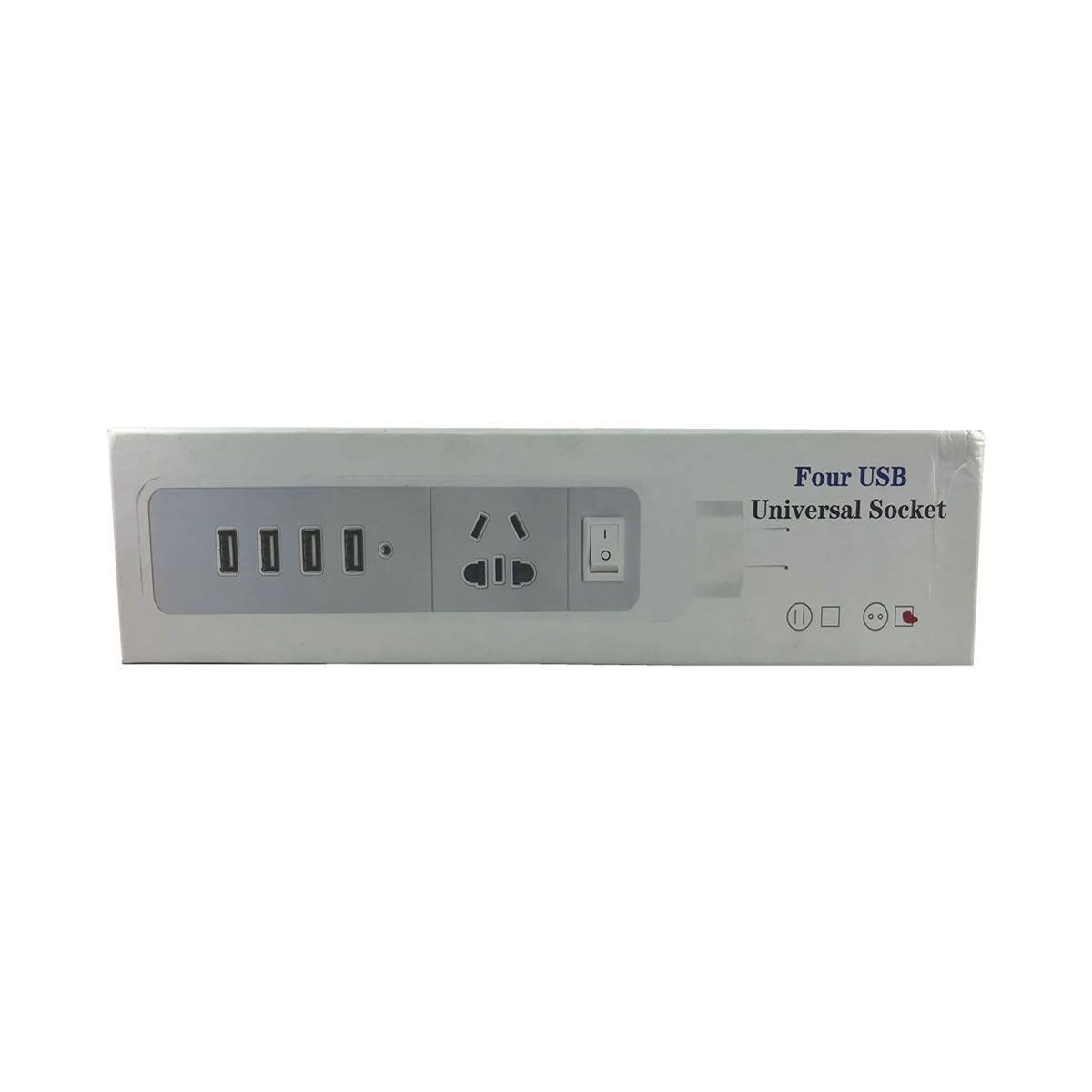 HUB com 4 portas USB extensão elétrica de tomada