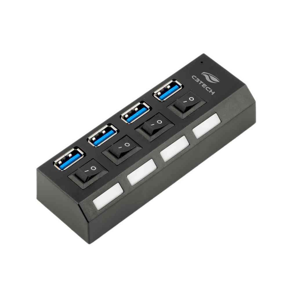 HUB com 4x portas USB 3.0 com chave seletora HU-S300BK C3 Tech