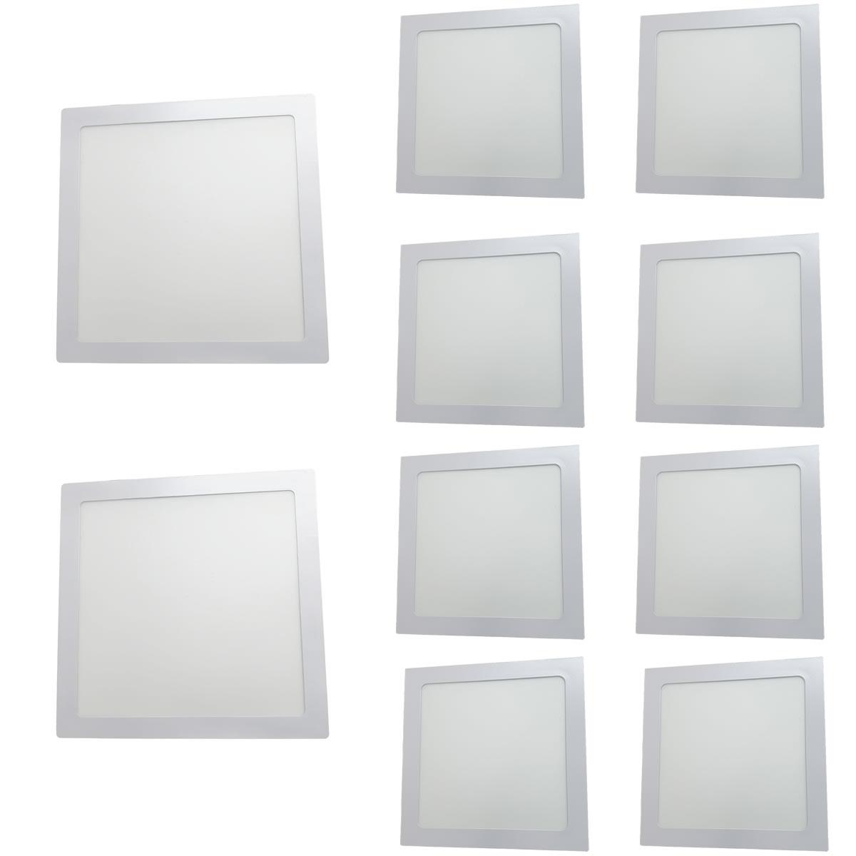 KIT 10 Painel Plafon LED 18W Quadrado Luz Branca Quente de Embutir