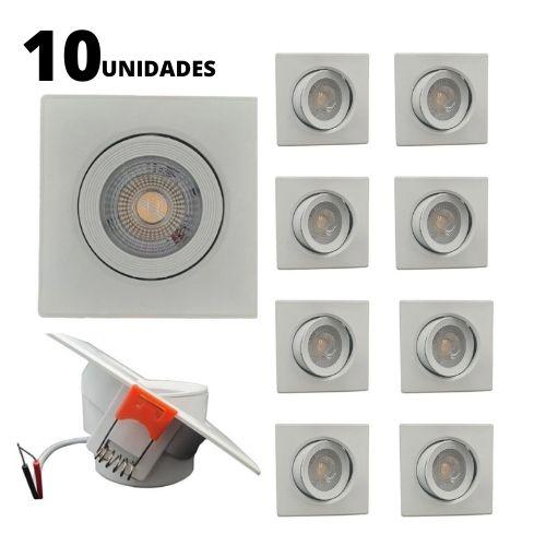 Kit 10 Spots LED SMD 5w Dicróica Direcionável Quadrado Forte Luz Quente 3000K