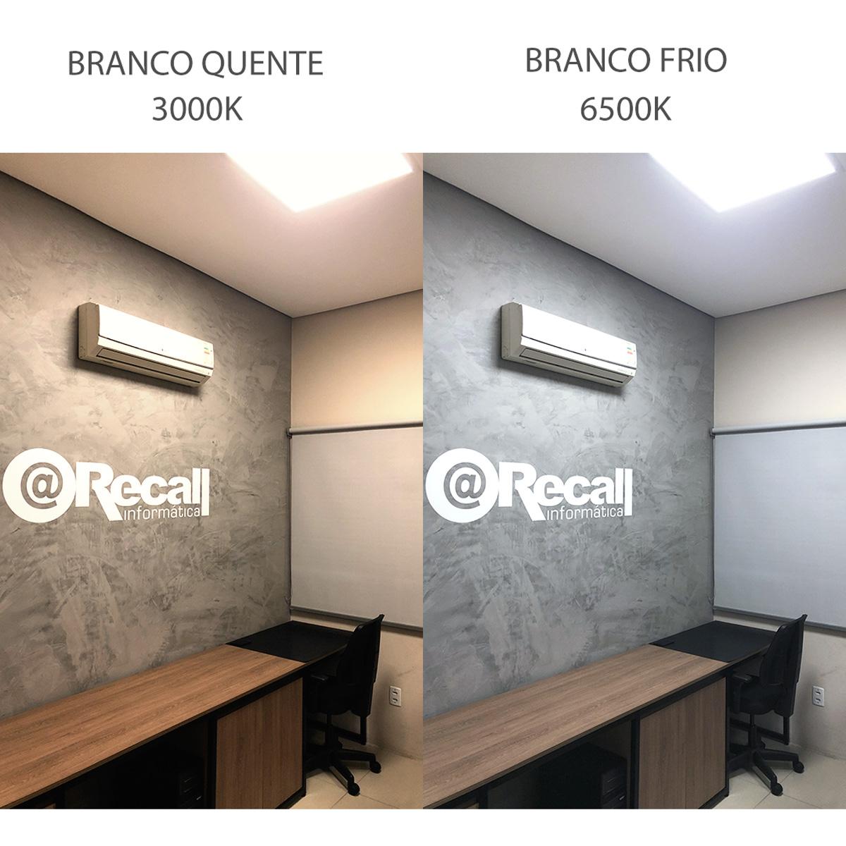 KIT 20 Painel Plafon LED 18W Quadrado Luz Branca Fria de Embutir