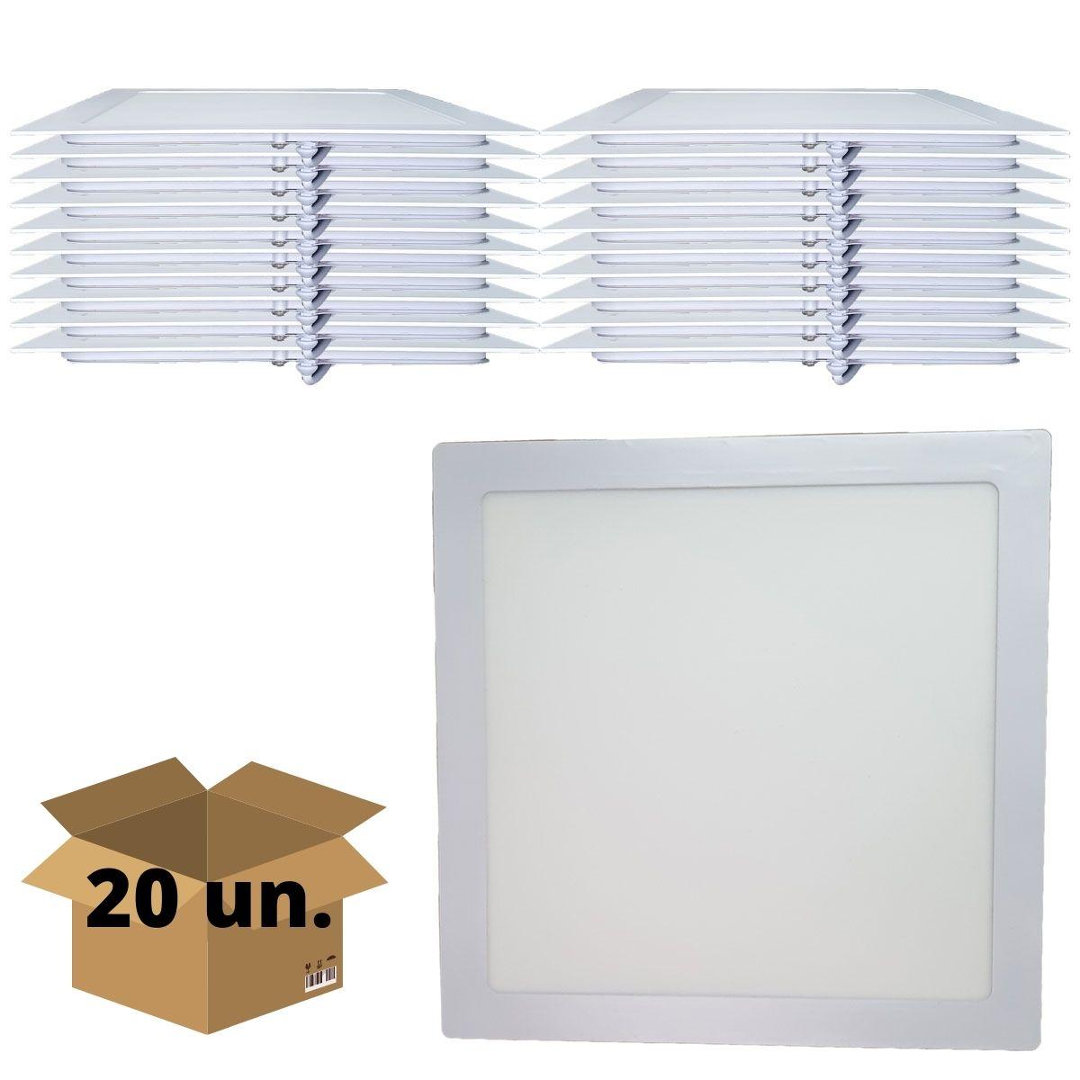 KIT 20 Painel Plafon LED 24w Quadrado Embutir Branco Frio Luminária