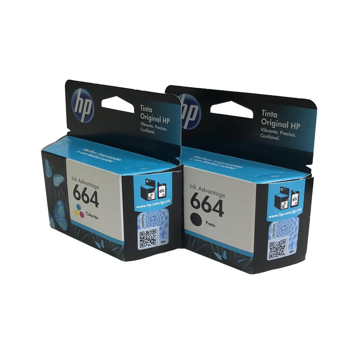 Kit 2 cartucho HP 664 Preto e Colorido para 1115 2136 3636 3836 4536 4676