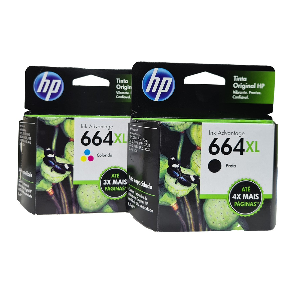 Kit 2 cartucho HP 664XL mais tinta para 1115 2130 3636 3836 4536 4676