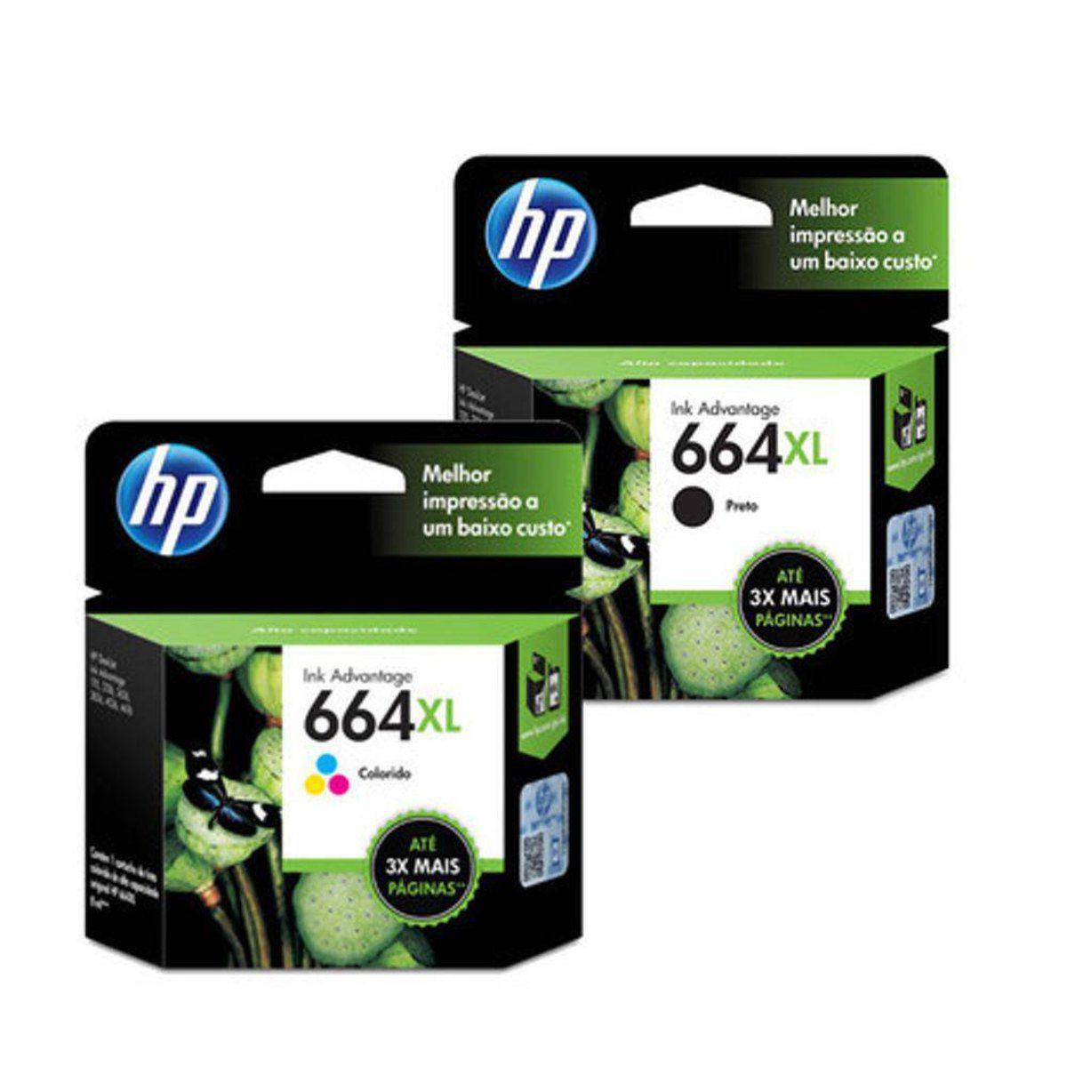 Kit 2 cartucho HP 664XL mais tinta para 1115 2130 3636 3836 4536 4676
