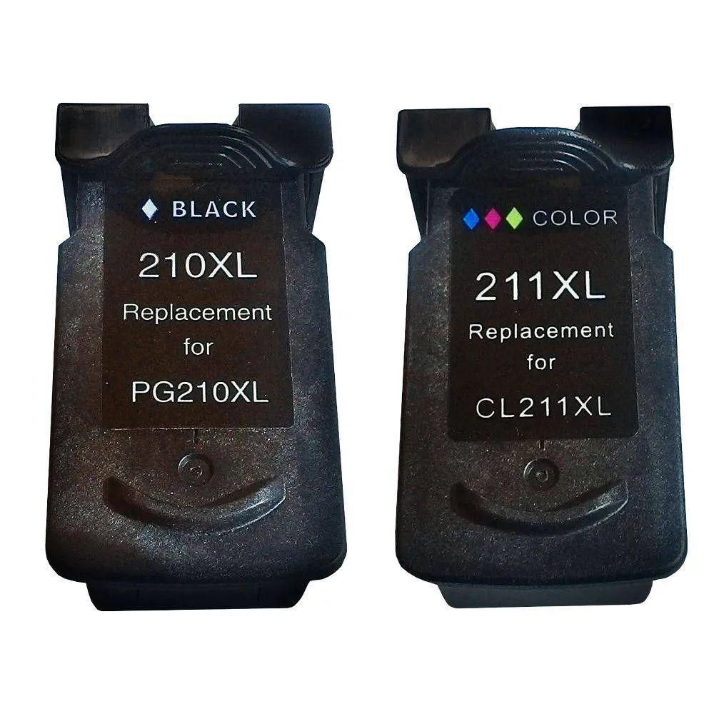 Kit 2 Cartucho PG210XL Cl211XL Compatível com MP240 MP250 MP260 MP270 MP280 MP480 MP490 da Canon