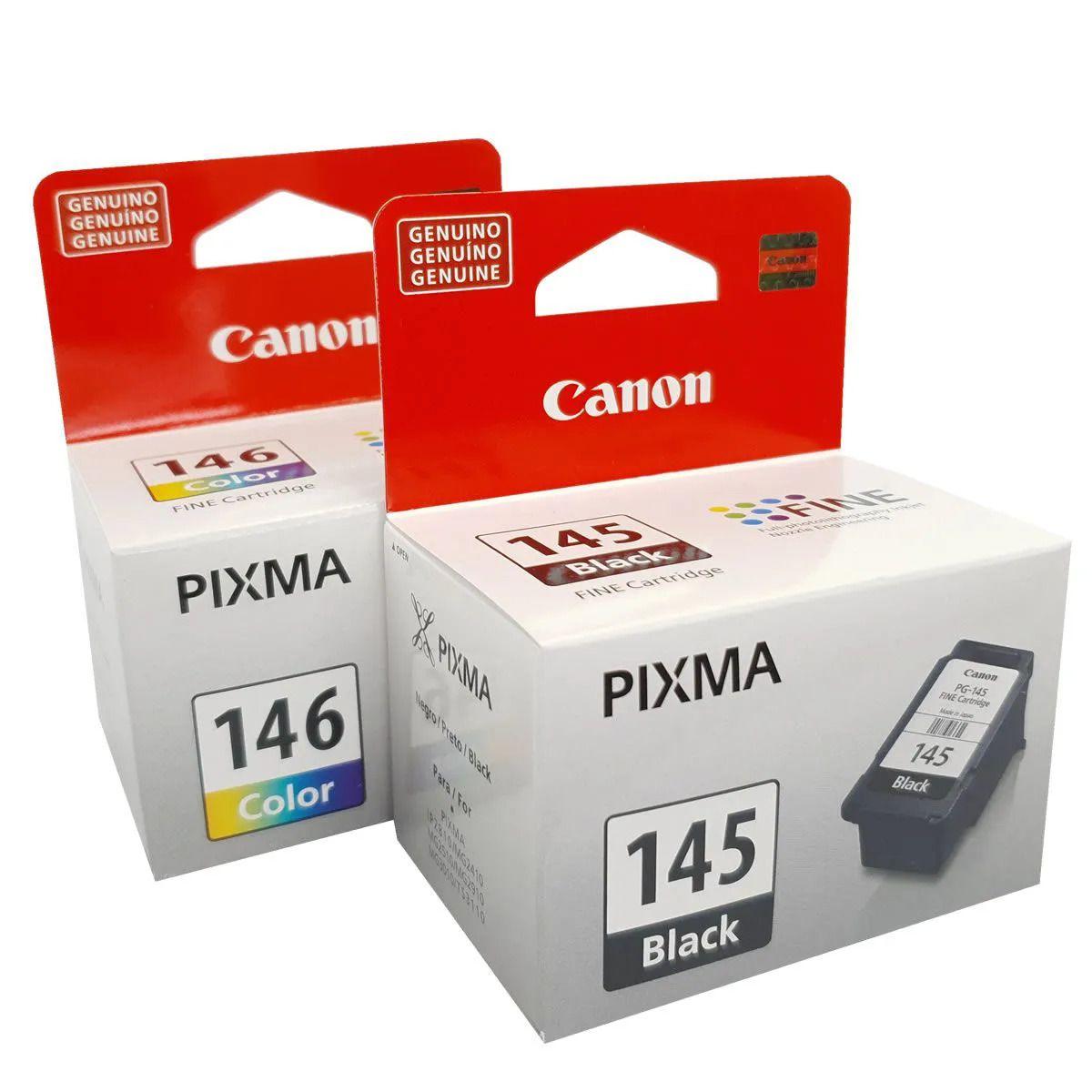 Kit 2 cartuchos Canon PG145 Preto e CL146 colorido para MG2410 MG2510